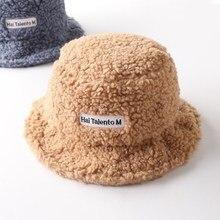 Winter Soft Warm Bucket Hats for Women Autumn Lamb Plush Hat Fisherman Sunscreen Fishing Hat Lady Casual Flat Panama Caps Korean