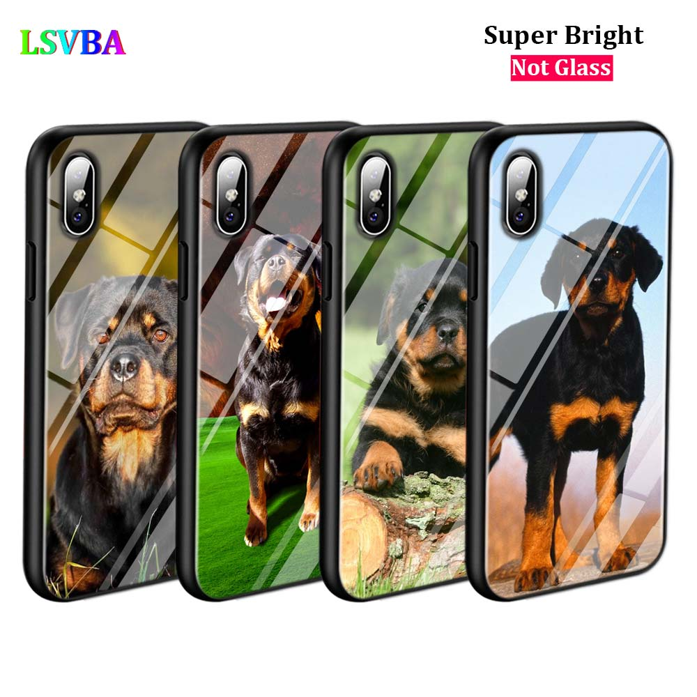 Black Cover Rottweiler dog for iPhone X XR XS Max 8 7 6 6S Plus 5S 5 SE Super Bright Glossy Phone Case