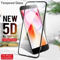 Protector de pantalla de vidrio templado 5D para iPhone 7 Plus X 10, Protector de pantalla para iPhone 12 Pro Max 11 XS XR 8 6 6S 12 Mini