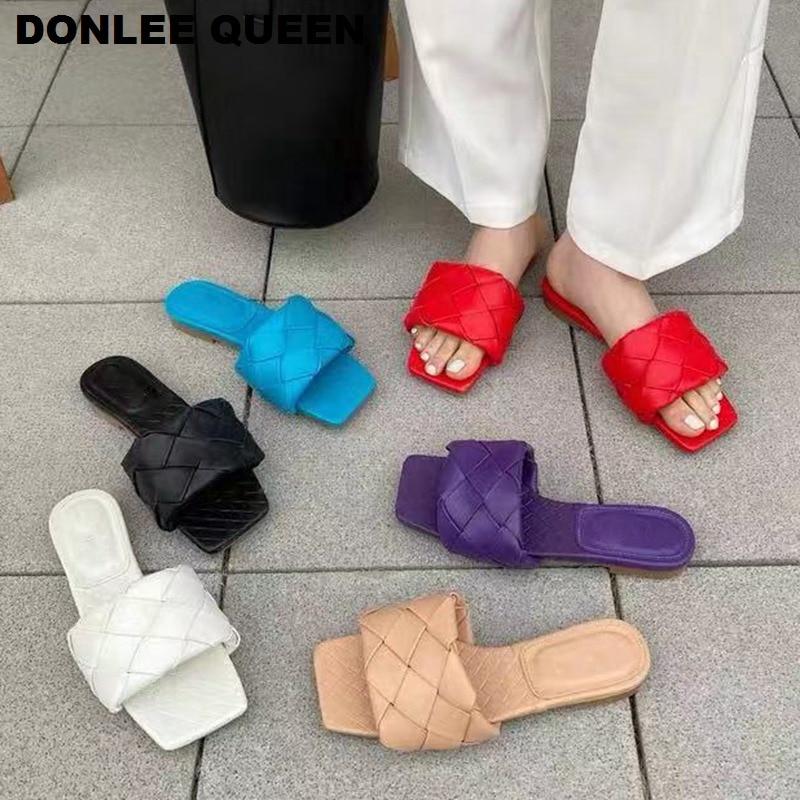 2020 New Summer Woven Slippers Women Slip On Slides Fashion Brand Square Toe Flat Casual Flip Flops Beach Slippers Slide Sandals