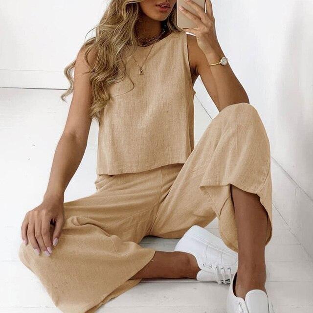 Conjuntos de dos piezas de lino y algodón liso para mujer, camisa elegante de moda con cuello redondo sin mangas y traje con pantalones con pernera ancha, ropa deportiva informal 2