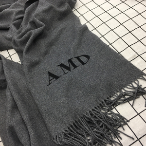 Image 5 - 20 Color Personalized Solid Tassel For Women Scarf Embroidery Custom Cashmere Winter Lady Girls Shawl Scarf Statement Gift