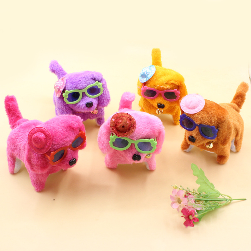Cool Forward Dao Tui Gou Eyes Shiny Would Call Electric Dog Hat Wear Toy Dog With Glasses Plush Toys Wholesale