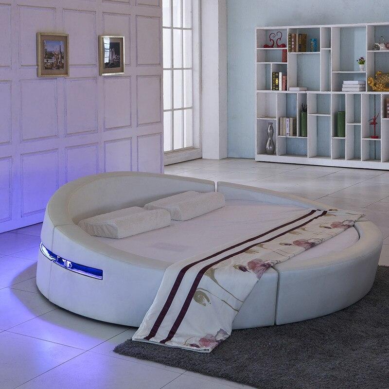 Akıllı karyola iskeleti camas yatak odası takımı mobilya кровать двуспальная aydınlatmalı yatak سرير led ışık yuvarlak hakiki deri yatak + yatak