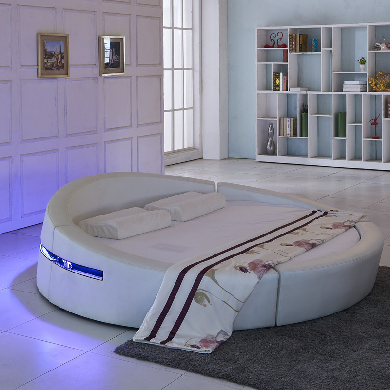 Smart Bed Frame Camas Bedroom Set Furniture кровать двуспальная Lit Beds سرير  LED Light Round Genuine Leather Bed + Mattress