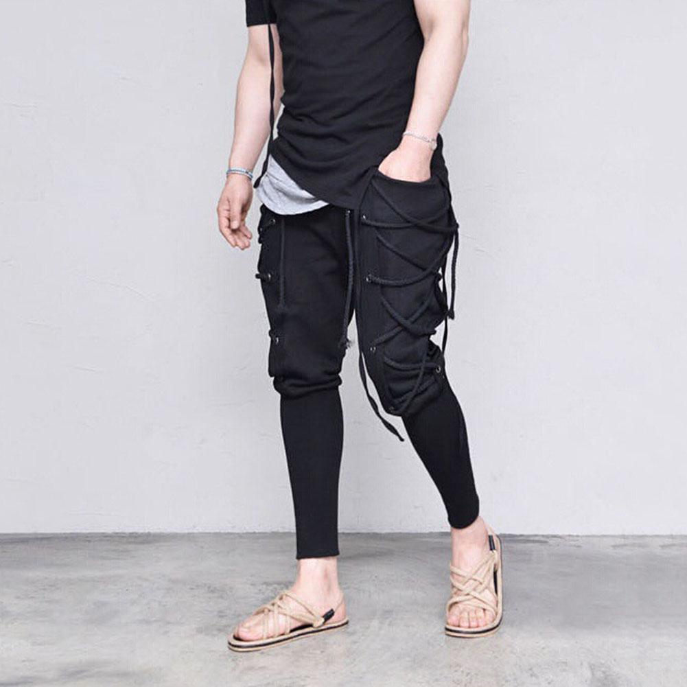 Men Solid Color Criss Cross Lace Up Baggy Sweatpants Medieval VikingTrousers