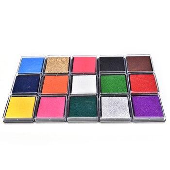 15 cores bonito inkpad artesanato óleo baseado almofadas de tinta diy para selos de borracha tecido scrapbook decoração do casamento impressões digitais carimbo tinta almofada