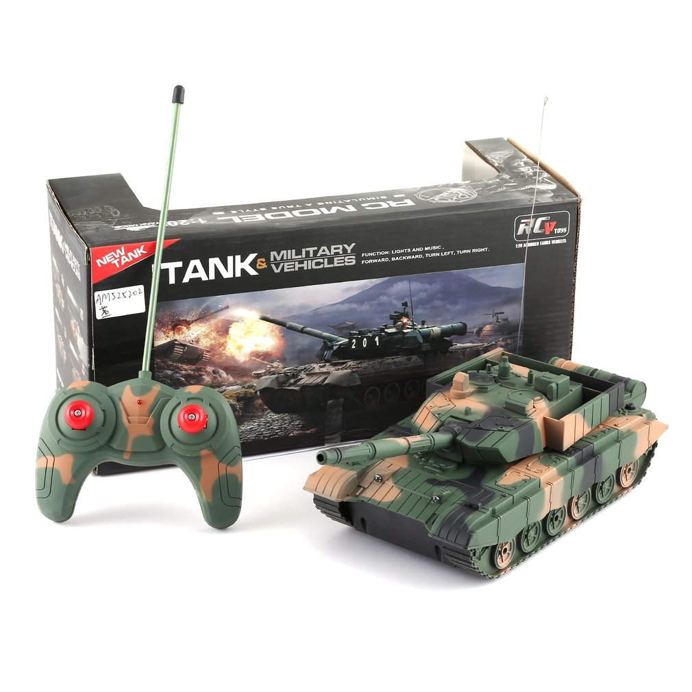 1:20 RC Tank Toy  Military Vehicle 4CH Remote Control Armored Tank Battle Tanks Turret Rotation Light & Music RC Model Kids Toy
