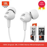 JBL C100Si Stereo Wired Kopfhörer Tiefe Bass Musik Sport 3,5mm Headset In-ear Ohrhörer Mit MIC