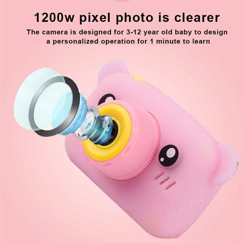 HobbyLane Portable Children 1300W HD Digital Camera Cute Cartoon Bear Shape 2 Inches IPS Screen Mini Camera Toy Gift For Kids 5