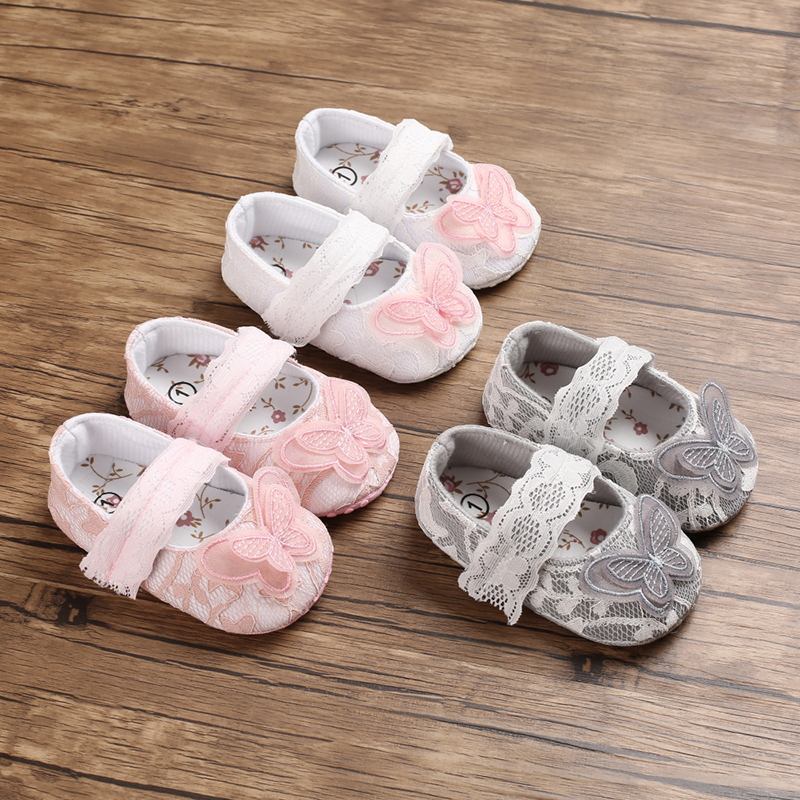 Pudcoco Newborn Princess Lace Shoes Baby Girls Butterfly Crib Shoes Soft Sole Prewalker Anti-slip Sneakers Infant 0-18M