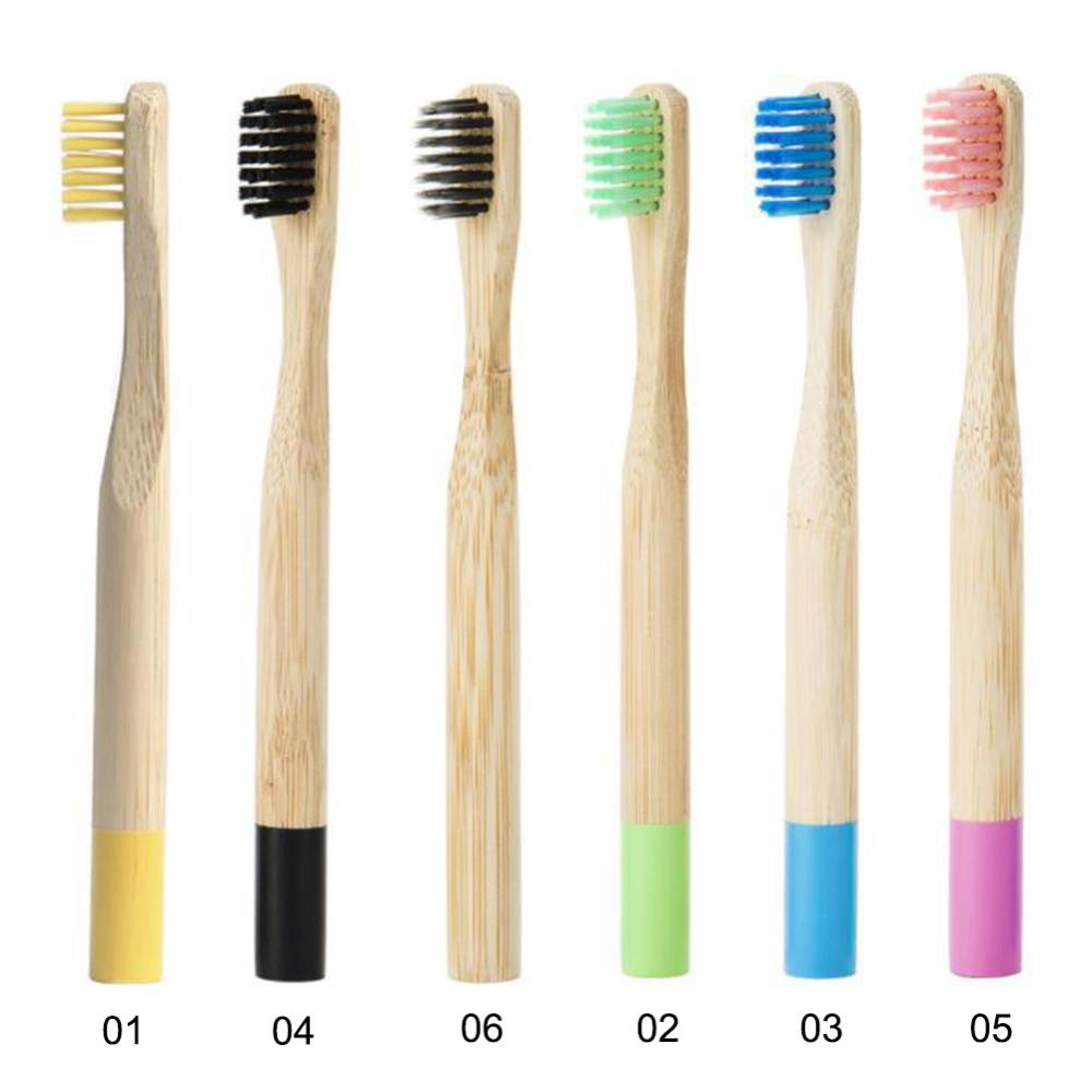 6pcs Natural Bamboo Toothbrush Kids Children's Oral Care Soft Bristles Wood Handle Rainbow Color Tooth Brushes Environmentally