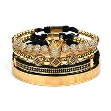 4pcs/set Gold Hip Hop Hand Made Bead Bracelet Men Copper Pave CZ Zircon Crown Roman Numeral Bracelets & Bangles Luxury Jewelry
