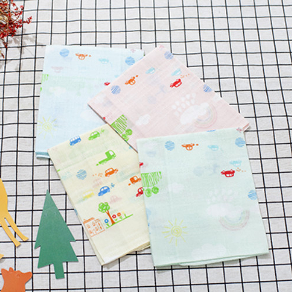 4pcs Handkerchiefs In Pure Cotton Printed Cute Cartoons For Girls / Boys 31.5 X 33cm