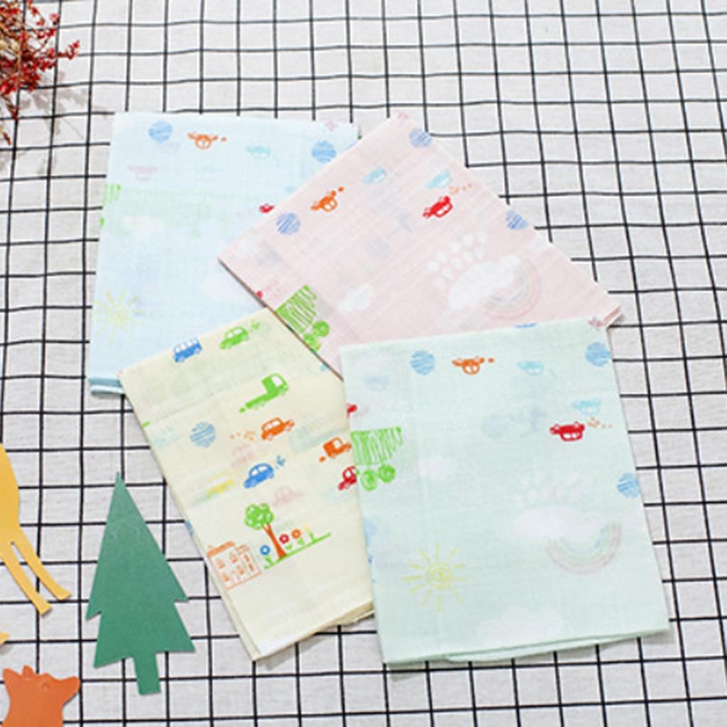 4pcs Handkerchiefs In Pure Cotton Printed Cute Cartoons For Girls / Boys 31.5 X 33cm