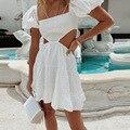 Женское платье с открытой спиной, облегающее плиссированное платье с рукавом принцессы, модель y2k bts в готическом стиле, лето 2021