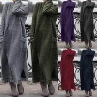 Mode frauen Herbst Sommerkleid ZANZEA 2019 Spitze Patchwork Sweatshirts Kleid Weibliche Hoodies Plus Größe Maxi Vestidos Pullover 5XL