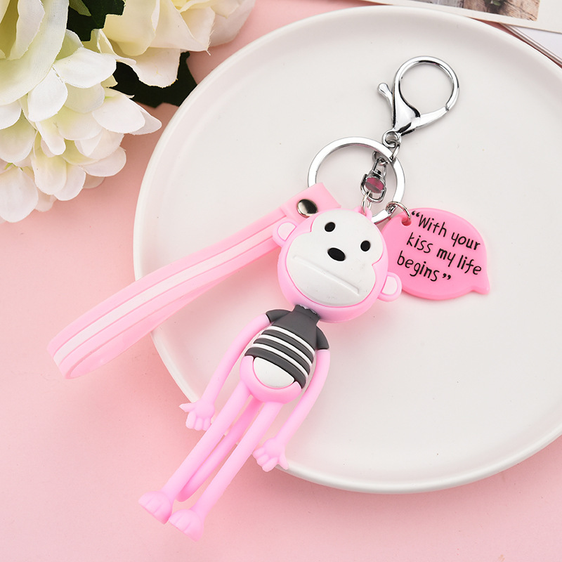 2019 Cute Cartoon Monkey Keychain Girl Keyring Or Men Key Chain Cute Gift Multicolour Jewelry Gift for Women Or Girls in Key Chains from Jewelry Accessories