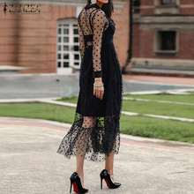 ZANZEA Summer Sexy Transparent Lace Mesh Sheer Dress Women Ruffles Hem Polka Dot Sundress Casual See Through Black Vestido Robe7