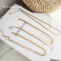 Wild & Free с тонким позолоченным звеньевая цепочка ожерелье для женщин из нержавеющей стали, 2 многослойное круглая подвеска звено цепи ожерель...