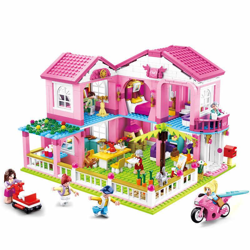 Città di Casa Grande Giardino Villa Building Blocks Imposta LegoINGLs Castello Yacht Amici Principessa Figure Mattoni Juguetes Giocattoli Per Le Ragazze