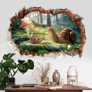 3D decoration broken wall snail home decoration sticker bedroom living room background pvc wallpaper forest mushroom snail decal(China)