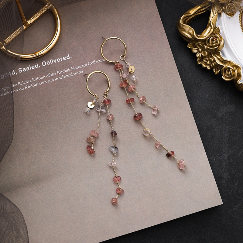 MENGJIQIAO Korean New Fashion Colorful Irregular Stone Long Tassel Drop Earrings For Women Elegant Pendientes Party Jewelry 1