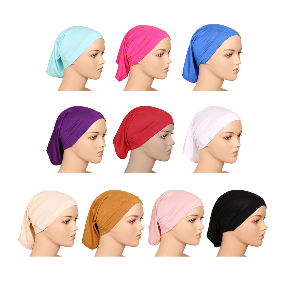 Muslim Headscarf Women Hijab Cap Cotton Under Scarf Bone Bonnet Neck Cover Women's Head Scarf Cotton Underscarf Hijab Cover