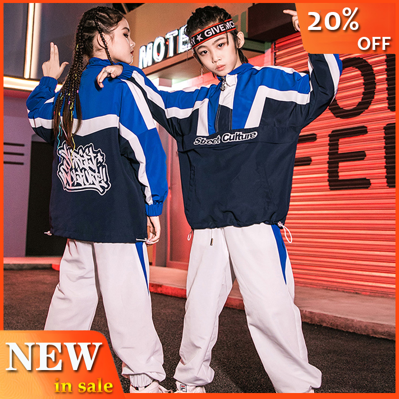 Autumn Hip Hop Clothes Kids Sports Wear Children Clothing Boys Street Dancewear White Hip Hop Pants Girls Jazz Costume BL3014