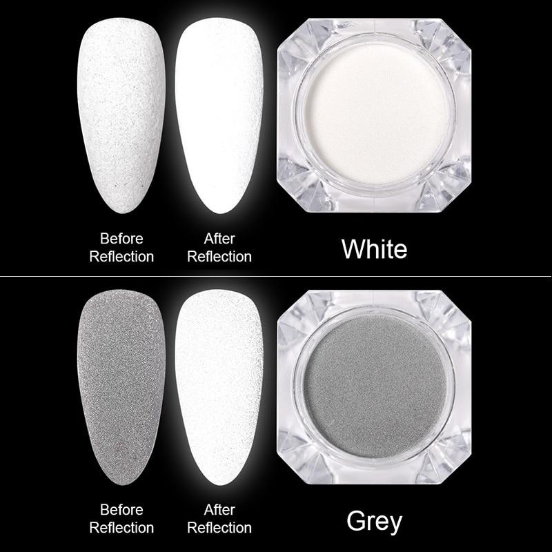 Блестящий Порошок для ногтей, светится в темноте, цвет серый, белый, вечерние пигментные украшения для ногтей, сделай сам