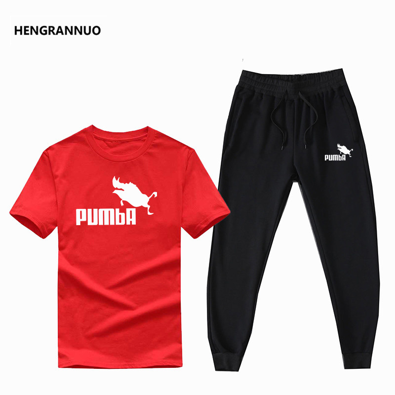 High Quality Cotton T Shirts+pants Summer Men Set 2 Pieces Set Casual Short Sleeve Tracksuit Male 2019 Joggers Men T Shirt Sets