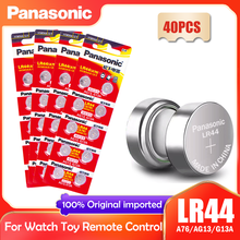 Часовая батарейка Panasonic LR44 LR 44 A76 AG13 1,5 в, 40 шт., Кнопочная батарейка G13A LR44 LR1154 SR1154 357A SR44 SR44SW SR44W GP76