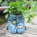 Resin Patched Trousers Flower Pot Decorative Jeans Bird Nest Plant Holder Garden Ornament Embellishment Furnishing Supplies