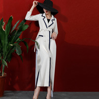 LANMREM Apricot Lapel Long Sleeve Double breasted Belt Slim Windbreaker Woman Simple Vintage Fashion 2020 Spring Coat New TV710