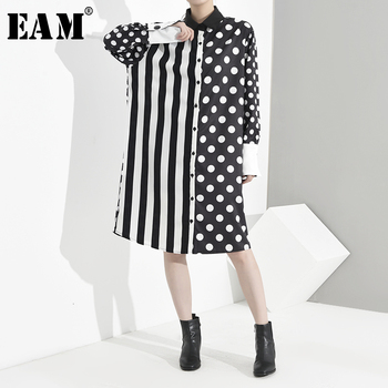[EAM] Women Black Striped Dot Big Size Shirt Dress New Lapel Long Sleeve Loose Fit Fashion Tide Spring Autumn 2020 JU6880