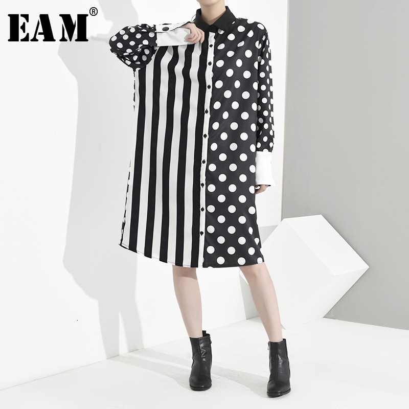 [EAM] Women Black Striped Dot Big Size Shirt Dress New Lapel Long Sleeve Loose Fit Fashion Tide Spring Autumn 2020 JU6880