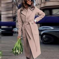 Women's Long Sleeves Solid Color Casual Loose With Belt Woolen coat Fashion autumn winter pocket long outwear navy blue