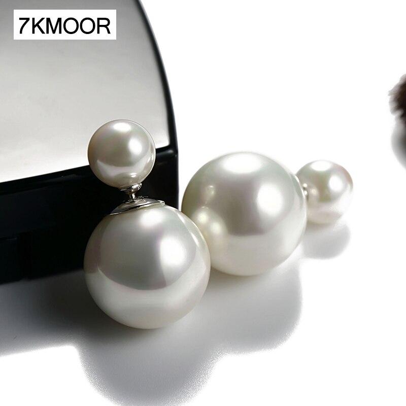 2019 New Fashion Paragraph Hot Selling Earrings Double Side Shining Pearl Stud Earrings Big Pearl Earrings For Women KM18