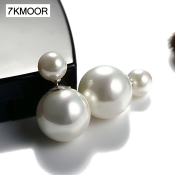 2021 New Fashion Paragraph Hot Selling Earrings Double Side Shining Pearl Stud Big For Women KM18 - discount item  34% OFF Fine Jewelry