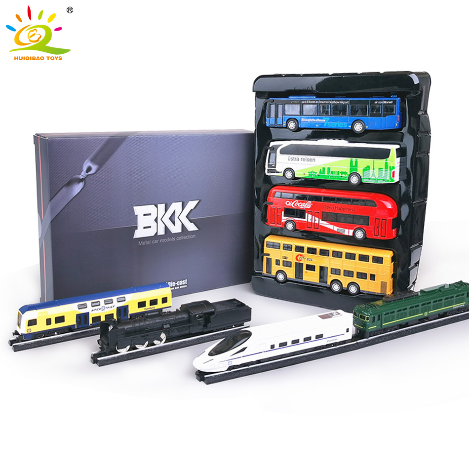 4pcs/set Diecast Track Train High-speed Rail Metal Alloy School Bus Car Models Iron Horse Track Model Vehicle Toys For Children