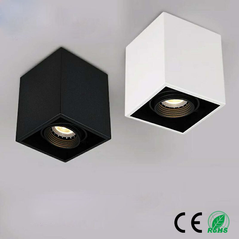 LED Ceiling Lights Single Spot LED Lamps Replaceable GU10 10W Led Bulbs Ceiling Light Square Lamp Decorations Lighting For Home