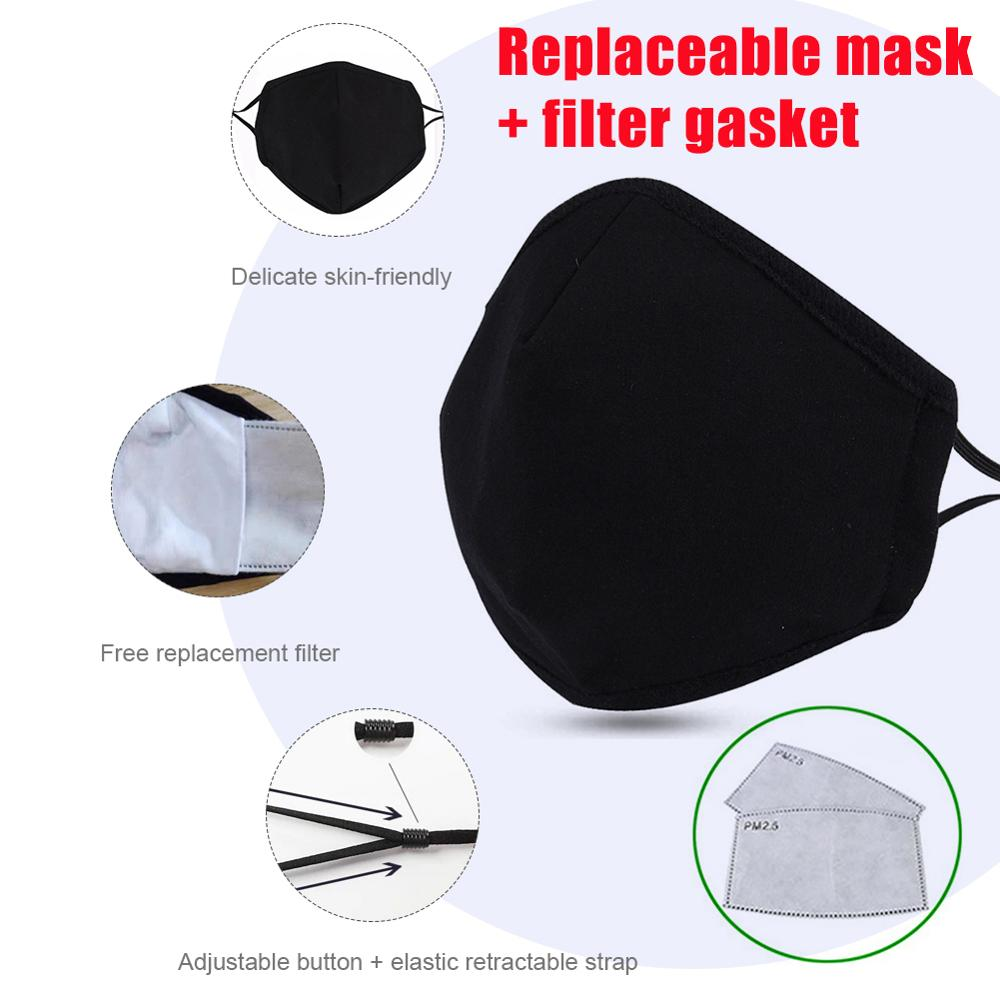Anti-Fog  Pm2.5 Washable Mask Cotton Mask + Five-Layer Protective Filter Adjustable Cotton  Comfortable Replaceable Filter Eleme