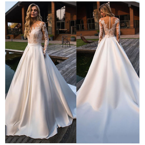 LORIE Wedding Dress 2019 Long Sleeves Beach Bride Dress Appliques Lace  Sexy See Through Back White Ivory Wedding Gown Pakistan