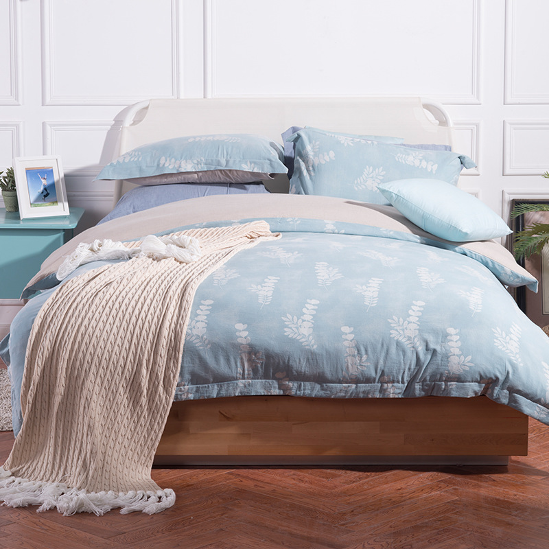 Dohia Simple Four-piece Set Washing Cotton Linen Jacquard Model Room Villa Soft Loading Bedding Article Gift Ceremony