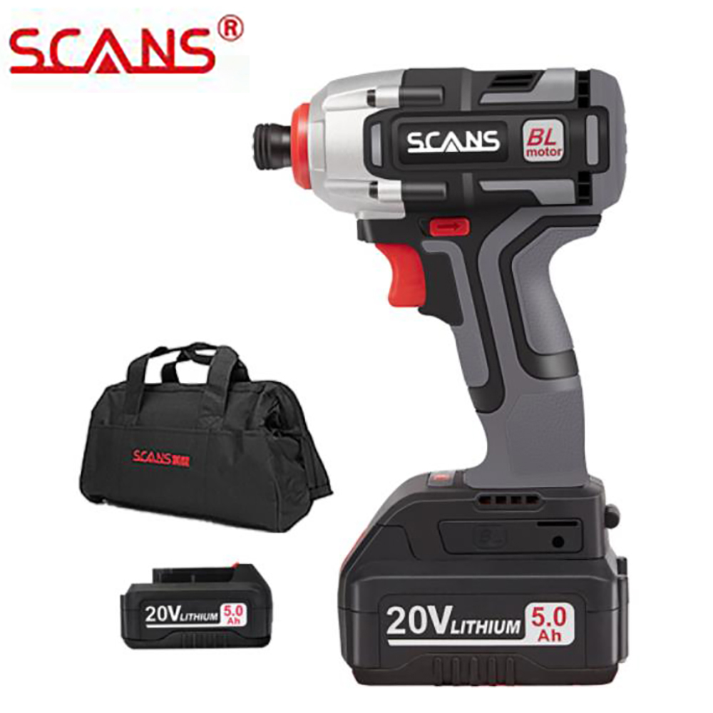 SCANS SC2180 Professional Tool 20V Cordless Brushless Lithium Impact Driver Impact Screwdriver With Li-ion Battery Free Return