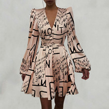Print-Dress Women's No Verano Puff-Sleeve Letter Ruched-Button Vestidos Vintage Mujer