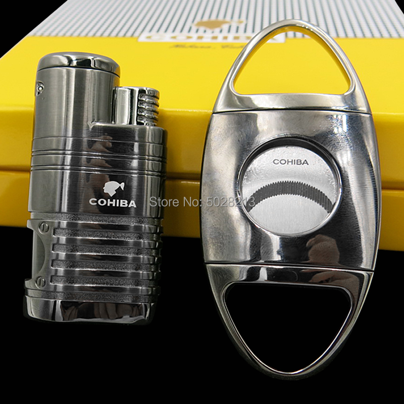 COHIBA Cigar Lighter Cutter Gift Set 3 Torch Jet Flame With Punch Black Chrome
