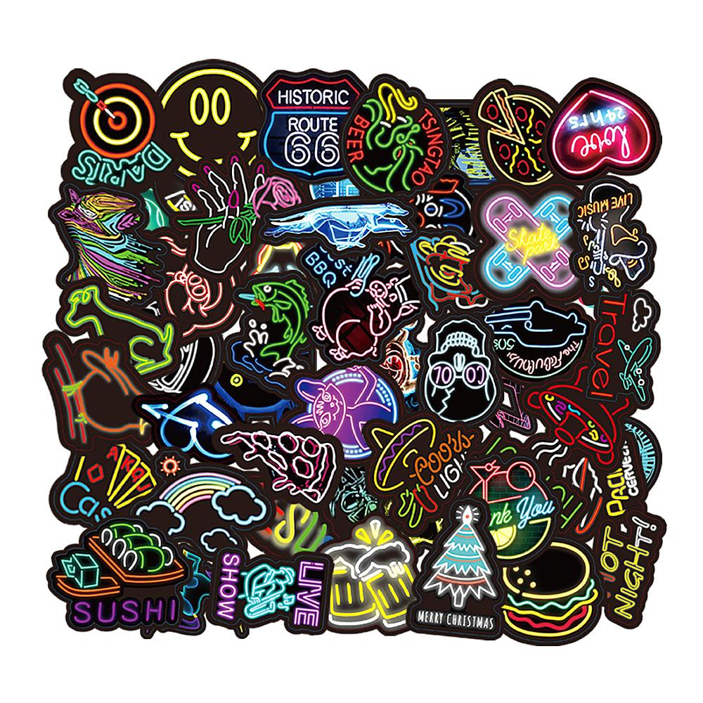 50 pcs Neon Light Stickers Cool Funny Car Styling Bomb JDM Decals Bike Motorcycle Phone Laptop Travel Animal food Cartoon Toy
