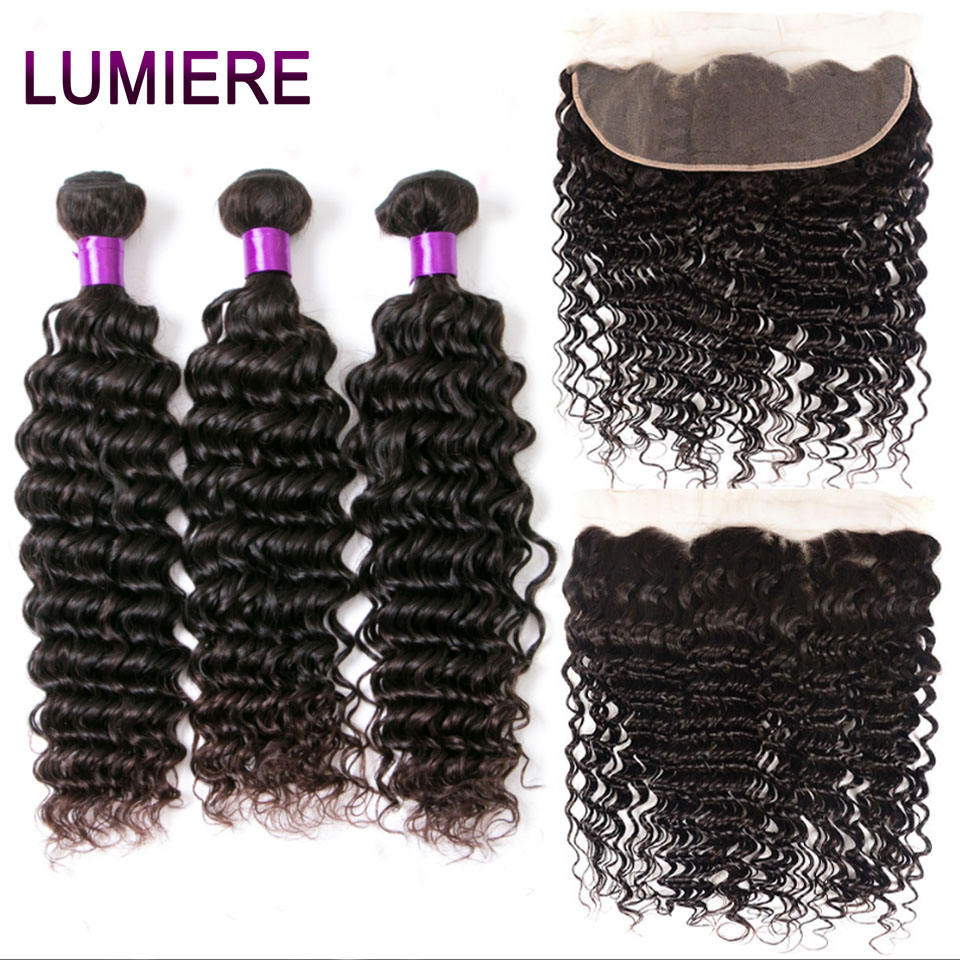 Lumiere Hair Deep Wave Bundles With Frontal Brazilian Hair Weave 3 Bundles With 13x4 Lace Frontal Non Remy 100% Human Hair 1B