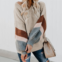 Oversized Sweaters Women  V-neck Striped Lantern Sleeve Sweater Winter Jumpers knitted Clothes Pullover Ladies Loose Knitwear